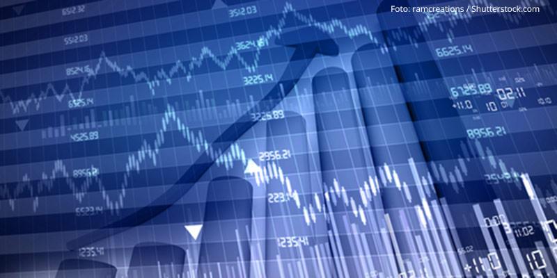 Anzeigetafel Börse mit Charts