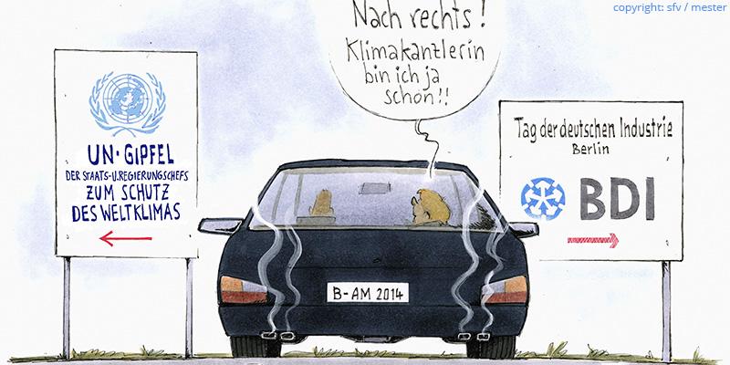 Angela Merkel industriehörig (Karikatur mit Auto)