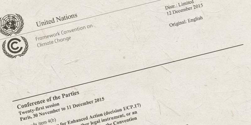 UN Klimaabkommen Paris 2015 (Briefkopf)