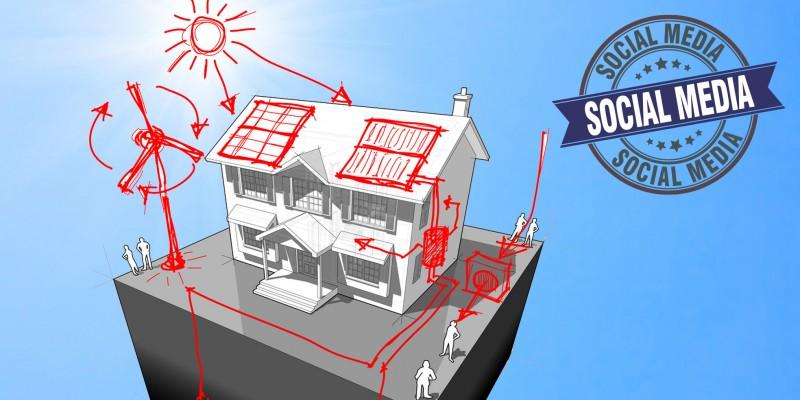 Skizee von Haus mit erneuerbarer Gebäudeenergie