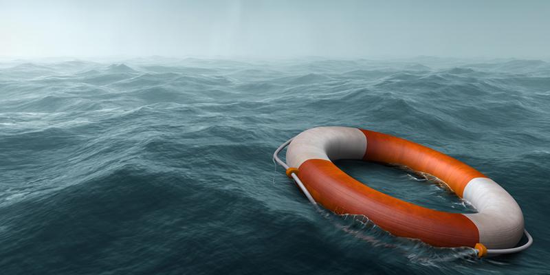 Rettungsring auf dem Meer